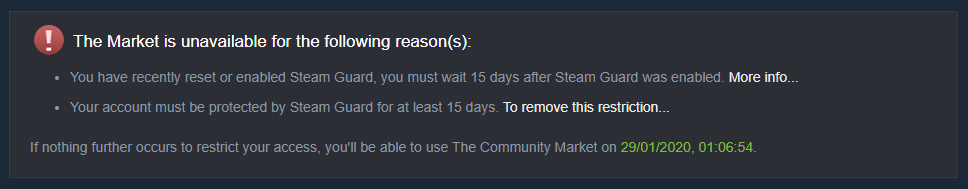 Steam Trading Restriction